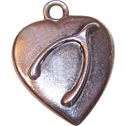 Antique STERLING SILVER Puffy Heart Charm - Wishbone Front; Engraved Year of 1900 at Back!