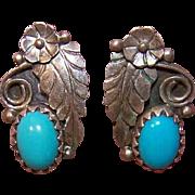 Vintage NATIVE AMERICAN Sterling Silver & Turquoise PIerced Earrings (Studs)!