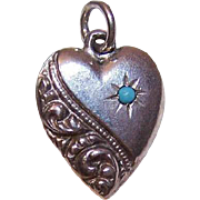 Vintage STERLING SILVER Puffy Heart Charm - Curlicue with Turquoise Bead; Engraved LB!