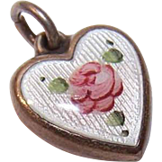 Vintage STERLING SILVER & Enamel Puffy Heart Charm - White with Pink Floral!
