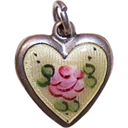 Vintage STERLING SILVER & Enamel Puffy Heart Charm - Buttercream with Pink Floral!