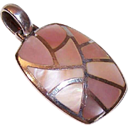 Vintage STERLING SILVER & Pink Mother of Pearl Pendant!
