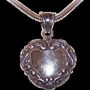 Edwardian Revival STERLING SILVER Repousse Heart Pendant!