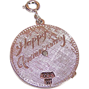 1960s MONET Silver Tone Mechanical Charm - Happy Anniversary!