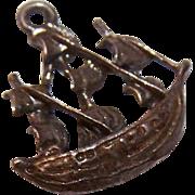 Vintage European 800 SILVER Charm - Spanish Galleon!