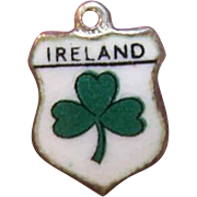 Vintage STERLING SILVER Travel Shield Charm - Ireland!