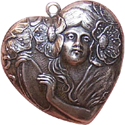 Vintage Silverplate Charm by Pididdly links - Art Nouveau Lady in Heart!