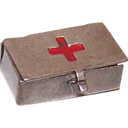 Vintage STERLING SILVER & Enamel Charm - Red Cross First Aid Box (Empty)!