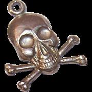 Vintage STERLING SILVER Charm - Skull & Crossbones!