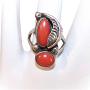 Vintage Native American STERLING SILVER & Coral Ring!
