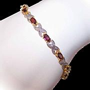 Vintage STERLING SILVER Vermeil, Garnet & Diamond Tennis Bracelet!
