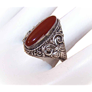 Vintage STERLING SILVER & Jasper Agate Filigree Ring!