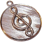Vintage WELLS STERLING Silver Disc Charm - Treble Clef!