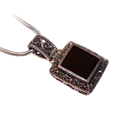 Vintage STERLING SILVER, Marcasite & Black Onyx Pendant!