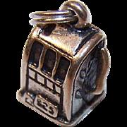 Vintage STERLING SILVER Charm - Slot Machine!