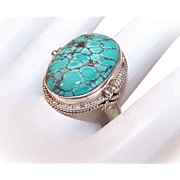 Vintage STERLING SILVER & Chinese Turquoise Ring!