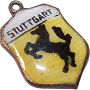 Vintage STERLING SILVER & Enamel Travel Shield Charm - Stuttgart!