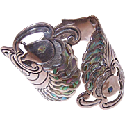 Awesome C.1960 Mexican STERLING SILVER & Abalone Pisces Clamper Bracelet!