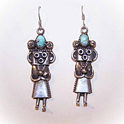Vintage NATIVE AMERICAN Sterling Silver & Turquoise Kachina Doll Earrings by PAC!
