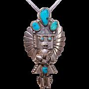 Vintage NATIVE AMERICAN Sterling Silver & Kingman Turquoise Kachina Doll Pin/Pendant!