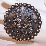 Vintage MEXICAN Sterling Silver Pin/Brooch by Barrera - 2 Men in Sombreros!
