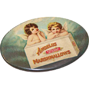 C.1910 ANGELUS MARSHMALLOWS Advertising Premium - Celluloid Pocket Mirror with Angels!