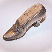 Antique Victorian STERLING SILVER Pin Cushion by Gorham - Lady's Shoe!