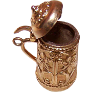 Vintage 14K Gold Charm - Beer Stein/Tankard with Floral Design!
