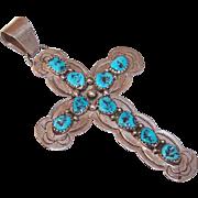 Vintage C. Yazzie STERLING SILVER & Kingman Turquoise Cross Pendant!