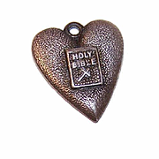 Morgans STERLING SILVER & Enamel Charm - Heart with Holy Bible on Front!