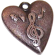 Morgans STERLING SILVER & Enamel Charm - Heart with Musical Notes on Top!
