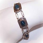 ARTS & CRAFTS Sterling Silver & Blue Scarab Link Bracelet!