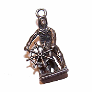 Vintage STERLING SILVER 3D Charm - Sea Captain at the Ship's Wheel!