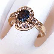 Vintage 18K Gold, .82CT TW Diamond & Blue Spinel Promise Ring!