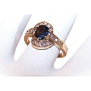 Vintage 18K Gold, .82CT TW Diamond & Blue Spinel Promise Ring!