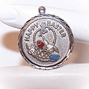 1950s STERLING SILVER & Enamel Disc Charm - Easter Bunnies with Eggs & Basket!