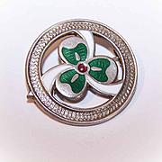 """C.1900 Sterling Silver & Enamel """"Lucky Shamrock"""" Pin/Brooch!"""