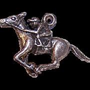 Vintage STERLING SILVER Charm - Jockey on Race Horse!