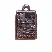 Vintage SILVER & Enamel Travel Shield Charm for Monaco!