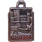 Vintage SILVER & Enamel Travel Shield Charm for Monaco!