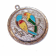 Vintage STERLING SILVER & Enamel Charm - Two Love Birds/Parrots!