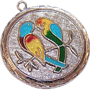 Vintage STERLING SILVER & Enamel Charm - Two Love Birds/Parrots!