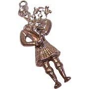 Vintage European STERLING SILVER Charm - Scottish Piper!