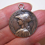 Vintage FRENCH Silverplate Medal of Athena/Minerva, Goddess of Wisdom!