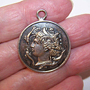 Vintage FRENCH Silverplate Medal of Thetis, Leader of the Nereides & Athena, Goddess of Wisdom!