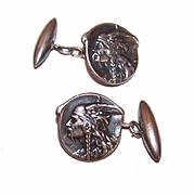French ART NOUVEAU Silverplate Cufflinks by Becker - Vercingetorix, Viking Warrior!