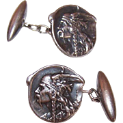 French ART NOUVEAU Silverplate Cufflinks by Becker - Vercingetorix, Viking Warrior!