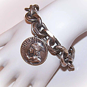 Vintage FRENCH Silverplate Link Bracelet with Vercingetorix/Brennus Medal/Charm!