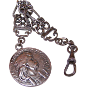 Vintage FRENCH 800/900 Silver Watch Fob Chain with Medal of Vercingetorix!