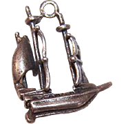 Vintage STERLING SILVER Charm - 3 Masted Ship!
